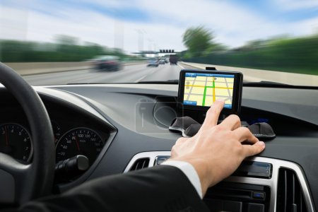 Person Hand Using Gps Navigation
