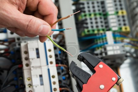 Photo for Technician Holding Cables And Work Tool - Royalty Free Image