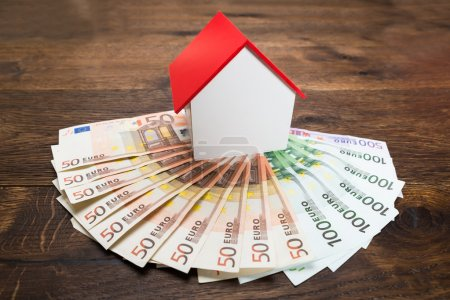 Photo for House Model On Euro Banknotes On Desk - Royalty Free Image