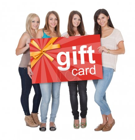 Group Of Women Holding Gift Card