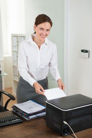 Female Secretary with Printer