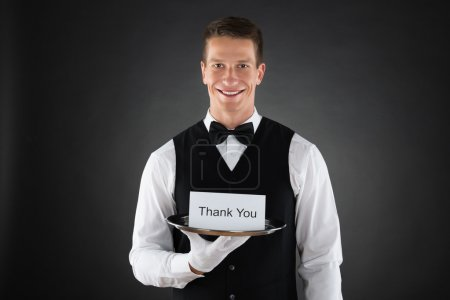 Waiter With Thank You Sign