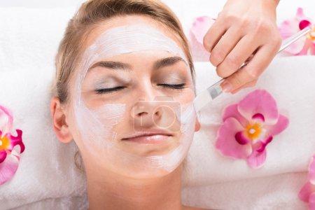 Photo pour Cropped image d'esthéticienne appliquer le masque sur le visage du client au salon - image libre de droit