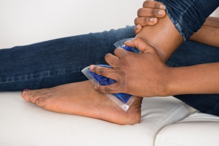 Holding Ice Gel Pack On Ankle