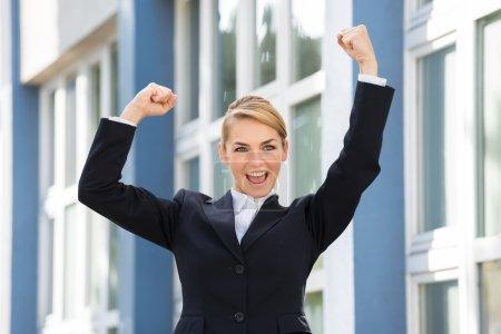 Businesswoman Celebrate Success