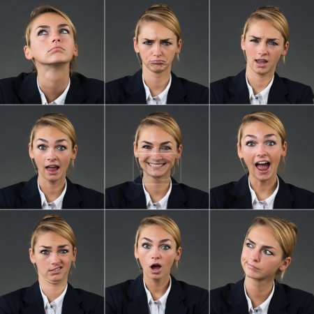 Collage Of Businesswoman With Different Expressions