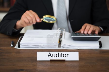 Auditor Scrutinizing Financial Documents In Office