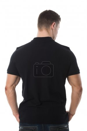 Rear View Of Man In Black Tshirt