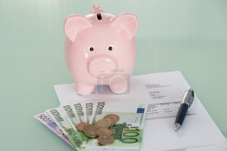 Piggybank And Euro Currency