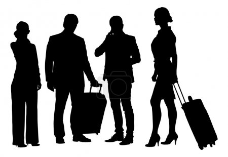 Silhouette Business People With Luggage