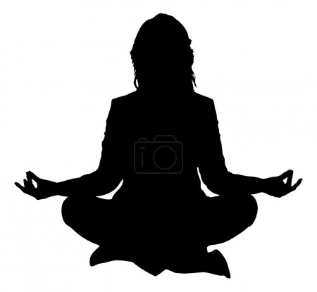 Silhouette Woman Practicing Yoga In Lotus Position