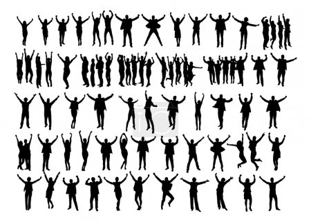 Silhouette Business People Raising Arms In Victory