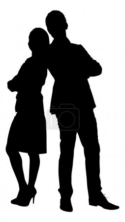 Silhouette Couple Standing Arms Crossed