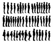 Collage Of Silhouette People Standing In Line