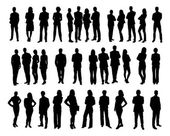Collage of silhouette business people standing against white background Vector image
