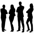 Full length of silhouette business people standing...