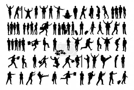 Collage Of Silhouette Business People Doing Various Activities
