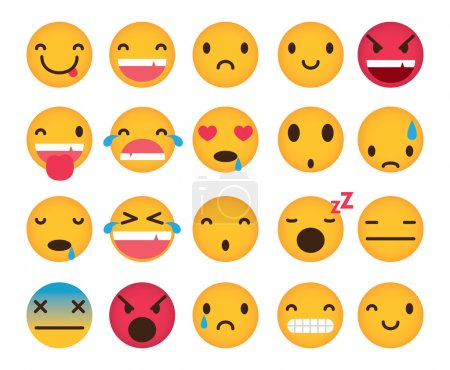 Set of cute emoticons smiles