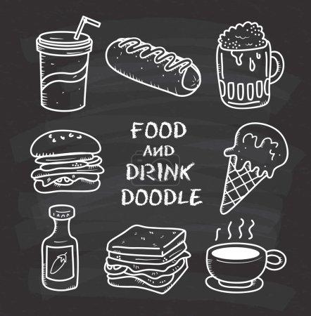 Photo pour Ensemble d'icônes de gribouille de nourriture et de boisson sur le tableau noir - image libre de droit