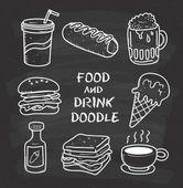 Jídlo a pití doodle