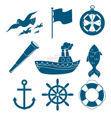 nautical, marine icons set