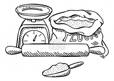 Scales, flour and rolling pin