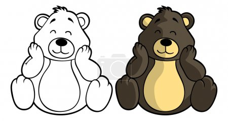 Shy cartoon teddy bear.