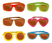 Retro sunglasses in doodle style isolated on white