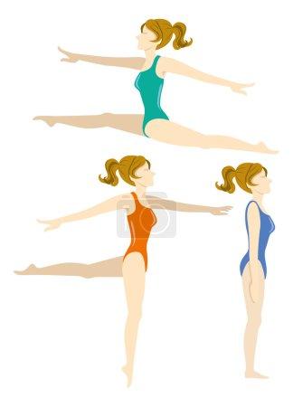 Illustration pour Femmes qui exécutent le ballet isolé sur blanc - image libre de droit