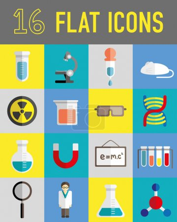 Photo for Science lab stuff flat icons background - Royalty Free Image