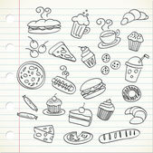 Set of sketch food drinks icons on notebook page Vector illustration