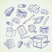Office equipment icons cartoon vector illustration