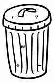 Trash bin in doodle style