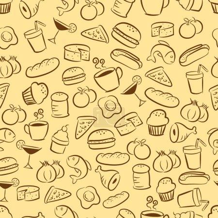 Photo pour Aliments et boissons sans couture modèle de fond - image libre de droit