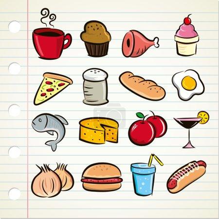 Photo pour Ensemble d'icônes de nourriture et de boisson. style dessin animé. Illustration vectorielle sur la page du carnet - image libre de droit