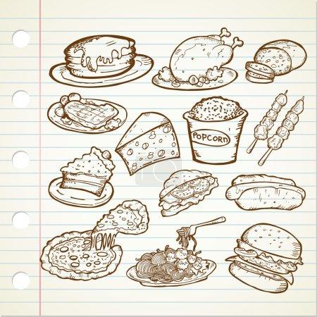 Set of junk food doodle