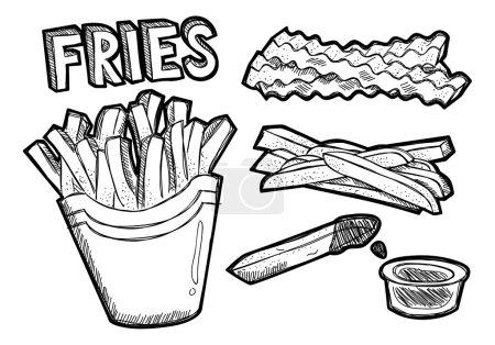 Illustration pour Frites de pommes de terre. icônes de dessin animé. Illustration vectorielle - image libre de droit