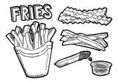Potato French fries cartoon icons Vector illustration