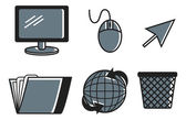Set of computer technology icon on white background Vector illustration