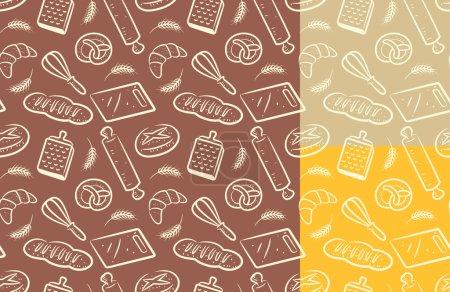 Illustration pour Pain, fond de boulangerie. modèle de nourriture sans couture. illustration vectorielle - image libre de droit
