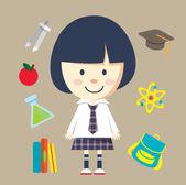 Cartoon school girl with education items vector illustration