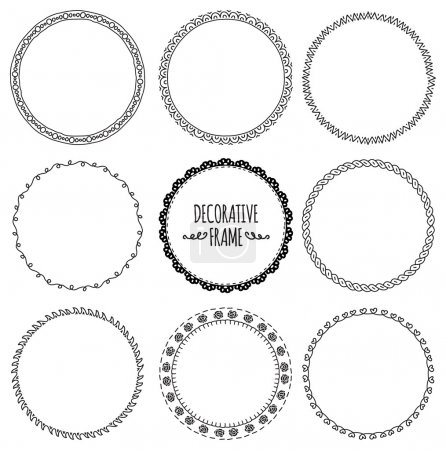 Illustration for Decorative circle, round frames set. black and white. vector illustration - Royalty Free Image