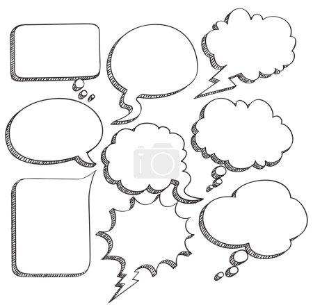 Illustration pour Ensemble de bulles de discours dessinées à la main - image libre de droit