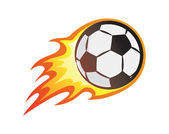 Soccer ball with flame burning football ball vector illustration