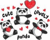 Three cartoon love pandas