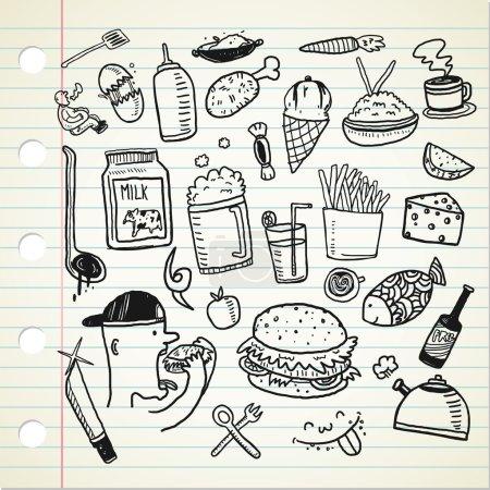 Photo pour Aliments et boissons icônes de dessin animé sur la page du carnet. illustration vectorielle - image libre de droit