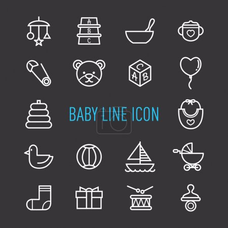 set of cute baby icons