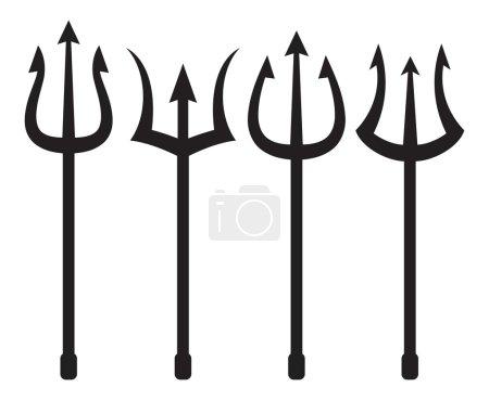 Set of black trident symbols. vector illustration...