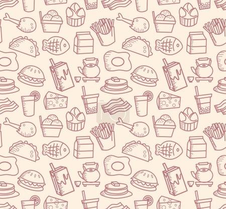 Photo pour Nourriture et boisson dessin animé modèle. illustration vectorielle - image libre de droit
