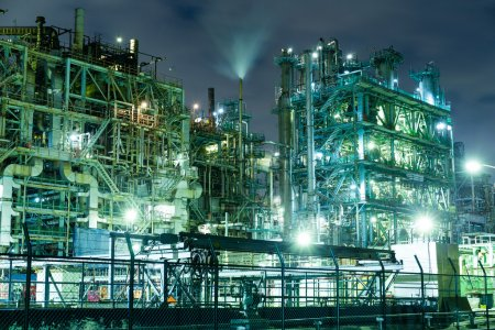 Photo for Industrial buildings at large factory at night in Japan - Royalty Free Image